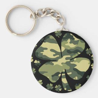 camouflage irish four leaf clover key ring