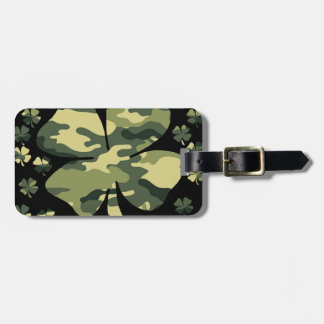 camouflage irish four leaf clover luggage tag