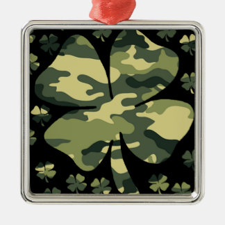 camouflage irish four leaf clover Silver-Colored square decoration