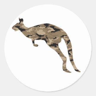 Camouflage Kangaroo Silhouette Classic Round Sticker