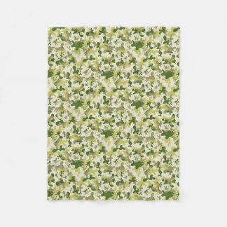 Camouflage Light Green Gray Beige Camo Design Fleece Blanket