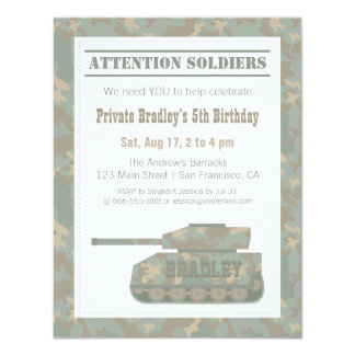 Camouflage Military Print Army Tank Birthday Party 11 Cm X 14 Cm Invitation Card