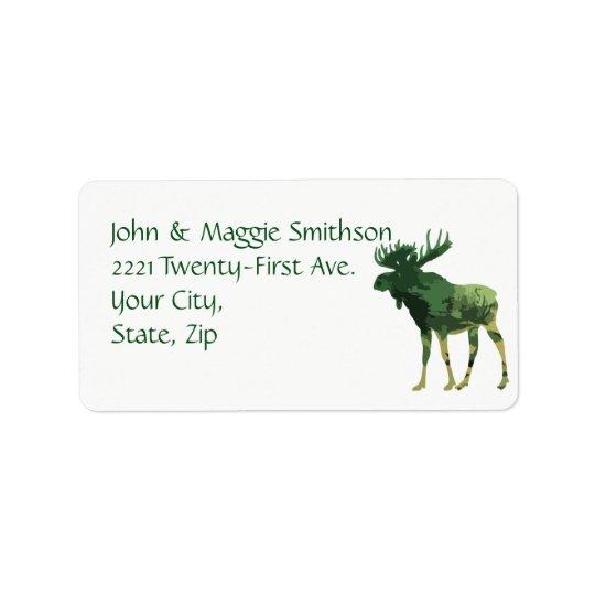 Camouflage Moose Animal Wildlife Nature art Address Label