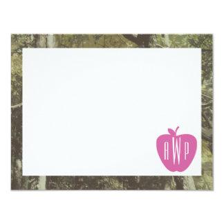 Camouflage + Pink Apple Monogrammed Teacher 11 Cm X 14 Cm Invitation Card