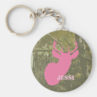 Camouflage & Pink Deer Head Personalized Keychain