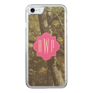 Camouflage + Pink Monogram Carved iPhone 8/7 Case