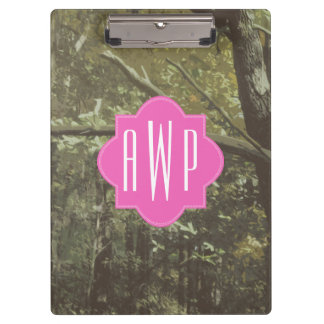 Camouflage + Pink Monogram Clipboards