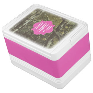 Camouflage + Pink Monogram Igloo Cooler