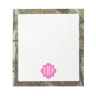 Camouflage + Pink Monogram Notepads