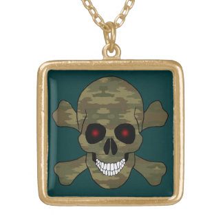 Camouflage Red Eyes Skull And Crossbones Necklace