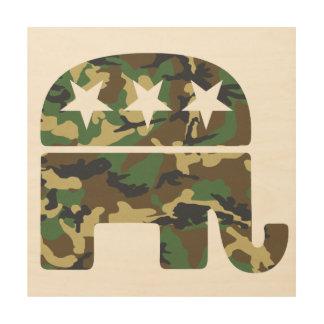 Camouflage Republican Elephant Wood Print