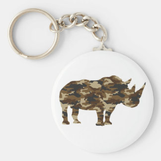 Camouflage Rhinoceros Silhouette Basic Round Button Key Ring