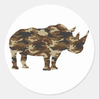 Camouflage Rhinoceros Silhouette Classic Round Sticker
