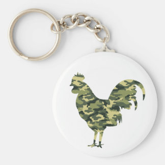 Camouflage Rooster Silhouette Key Ring