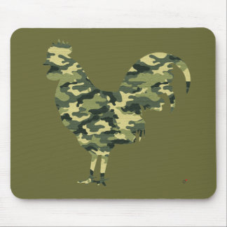 Camouflage Rooster Silhouette Mouse Mat