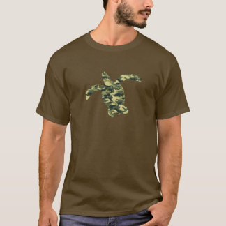 Camouflage Sea Turtle Silhouette T-Shirt