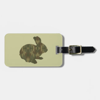 Camouflage Silhouette Easter Bunny Luggage Tag