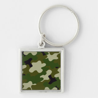 Camouflage Silver-Colored Square Key Ring