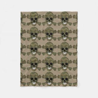 Camouflage Skull And Crossbones Fleece Blanket