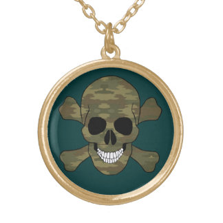 Camouflage Skull And Crossbones Necklace