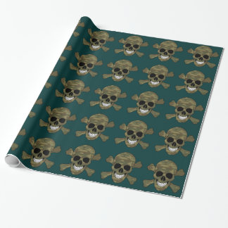 Camouflage Skull And Crossbones Wrapping Paper