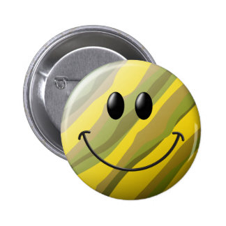 Camouflage Smiley Face 6 Cm Round Badge