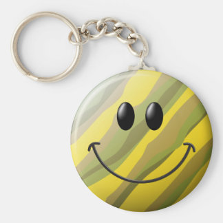 Camouflage Smiley Face Basic Round Button Key Ring