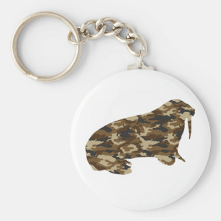 Camouflage Walrus Silhouette Key Ring