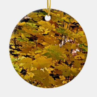 CAMOUFLAGE WITH LEAVES IN LATE FALL CHRISTMAS ORNAMENT