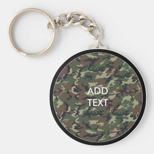 Camouflage Woodland Basic Round Button Key Ring