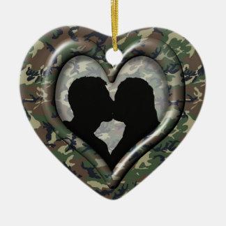 Camouflage Woodland Ceramic Heart Decoration