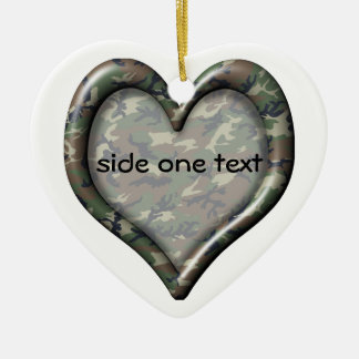 Camouflage Woodland Forest Heart Ceramic Heart Decoration