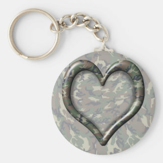 Camouflage Woodland Forest Heart on Camo Basic Round Button Key Ring
