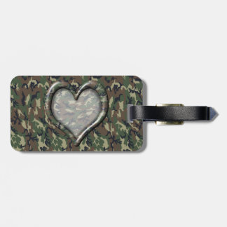 Camouflage Woodland Forest Heart on Camo Luggage Tag