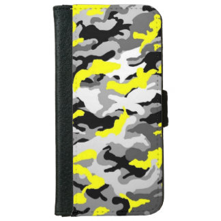 Camouflage Yellow Black Como Army Military Print iPhone 6 Wallet Case