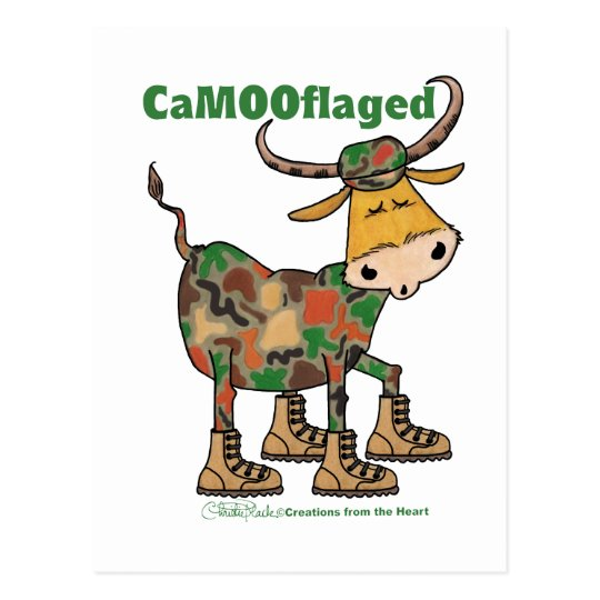 Camouflauge Bull Postcard