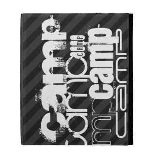 Camp; Black & Dark Gray Stripes iPad Folio Cases