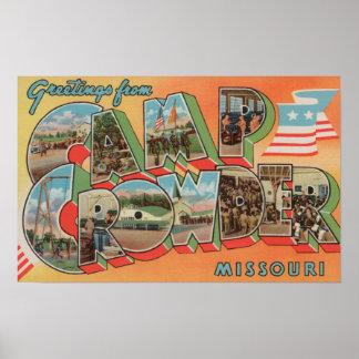 Camp Crowder, Missouri - Large Letter Scenes Poster
