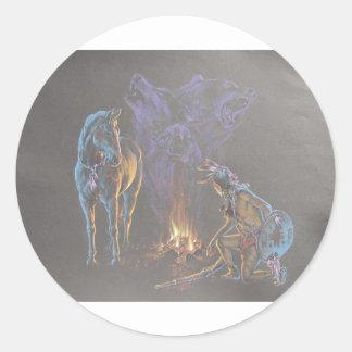 Camp Fire Native American Indian Warrior Classic Round Sticker