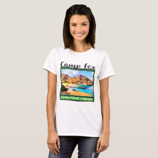 Camp Fox Blue Sky white Clouds in Green Frame T-Shirt