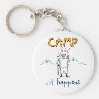 Camp Happens - Funny Kids Summer Camp Drawing Key Ring