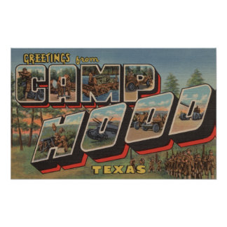 Camp Hood, Texas - Large Letter Scenes Poster