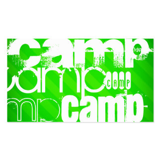 Camp; Neon Green Stripes Double-Sided Standard Business Cards (Pack Of 100)