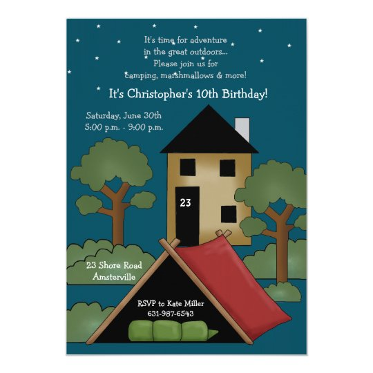 Camp Out - Birthday Party Invitation