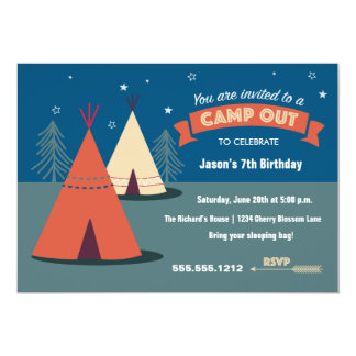 Camp Out Party 5x7 Paper Invitation Card