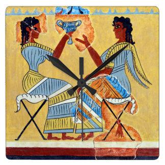 camp stool fresco priestesses talking replica anci square wall clock