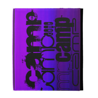 Camp; Vibrant Violet Blue and Magenta. iPad Folio Cases