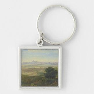 Campagna Landscape Silver-Colored Square Key Ring