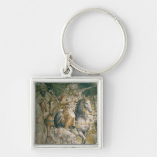 Campaign of Emperor Charles V against the Turks Silver-Colored Square Key Ring