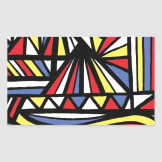 Campainha Abstract Expression Yellow Red Blue Rectangular Sticker